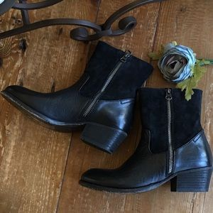 H by Hudson Black Leather Western Style Boots